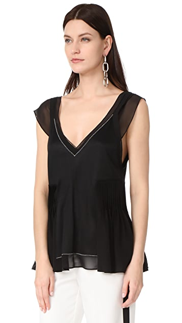 3.1 Phillip Lim Sleeveless Flutter Top with Bra Detail