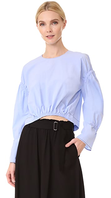 3.1 Phillip Lim Cropped Top with Piping & Gathering
