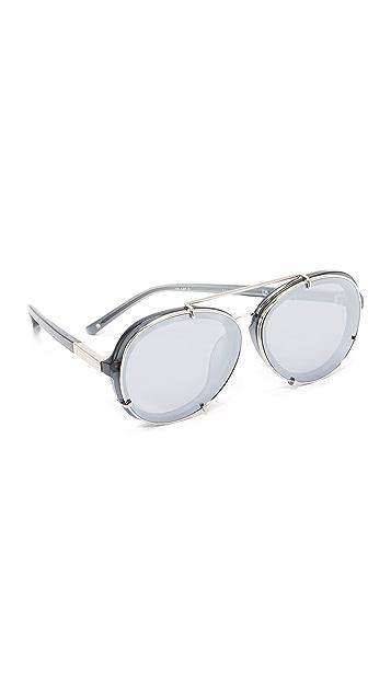 3.1 Phillip Lim Round Aviator Mirrored Sunglasses