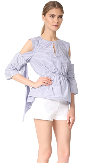 3.1 Phillip Lim Cold Shoulder Shirt with Scallop Trim