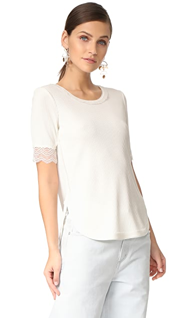 3.1 Phillip Lim Rib T Shirt with Lace Sleeve Detail