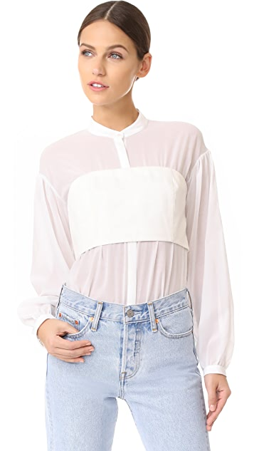 3.1 Phillip Lim Long Sleeve Corset Top
