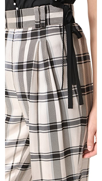 3.1 Phillip Lim Check Pants with Side Ties