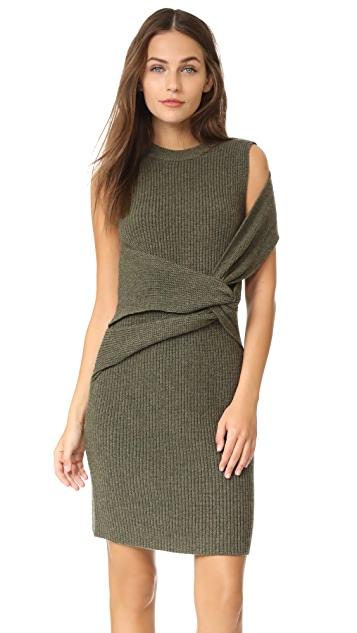 3.1 Phillip Lim Draped Wool Rib Twist Tank Dress