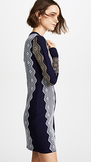 3.1 Phillip Lim Intarsia Lace Dress with Ruffle Cuff