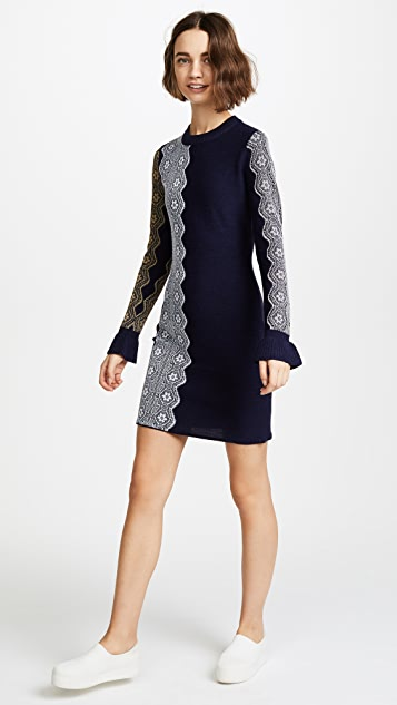 3.1 Phillip Lim Intarsia Lace Dress with Ruffle Cuff