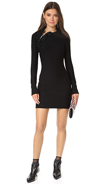 3.1 Phillip Lim Long Sleeve Solid Ruffle Sport Dress with Zippers