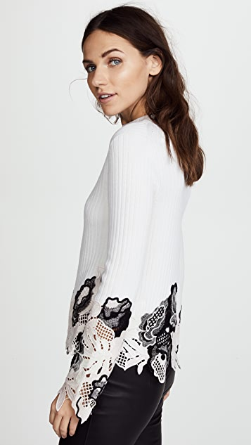 3.1 Phillip Lim Lace Embellished Ribbed Top
