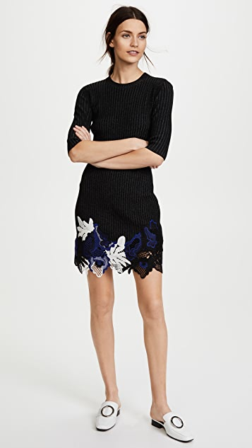 3.1 Phillip Lim Lace Embellished Ribbed Dress