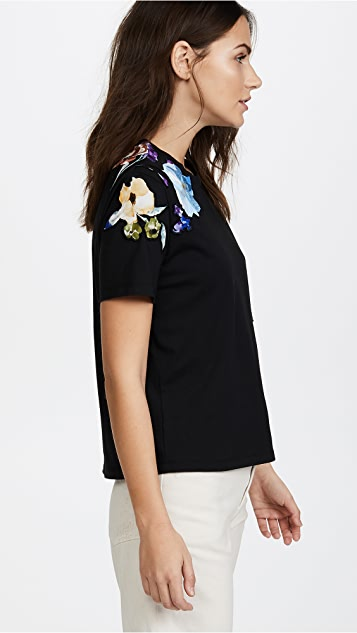 3.1 Phillip Lim Short Sleeve Floral Applique Tee