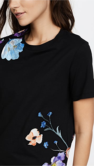 3.1 Phillip Lim Short Sleeve Floral Applique Tee