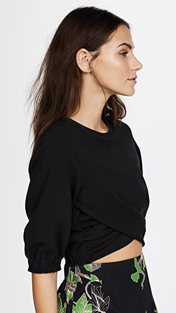 3.1 Phillip Lim Short Sleeve Twisted Cropped Tee