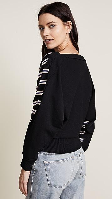 3.1 Phillip Lim 3/4 Sleeve Ottoman Stripe Sweater