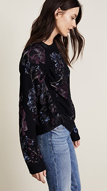 3.1 Phillip Lim Ruched Floral Jacquard Pullover