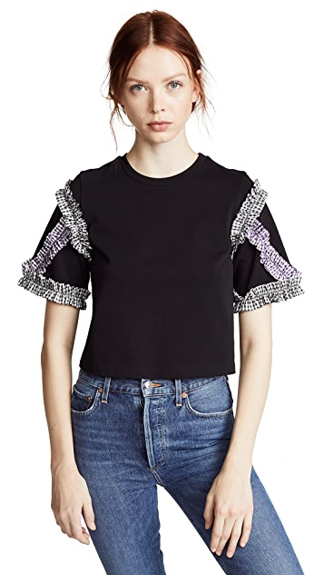 3.1 Phillip Lim Short Sleeve Ruffle Tee