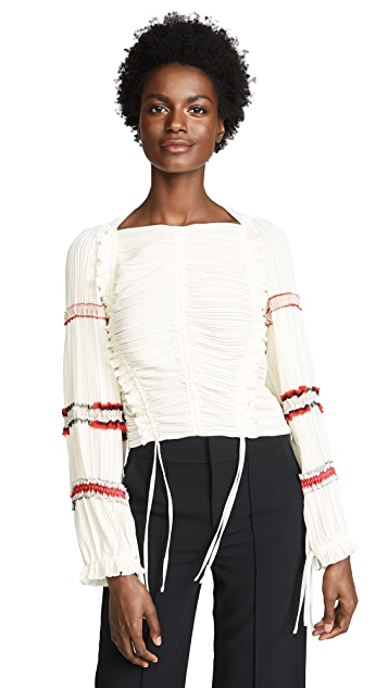 3.1 Phillip Lim Pleated Stripes Top