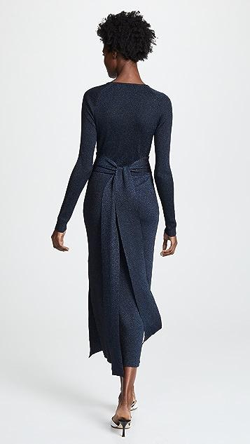 Metallic Rib Midi Dress