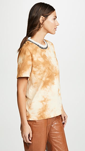 3.1 Phillip Lim Tie Dye T-Shirt with Mohair Ribs