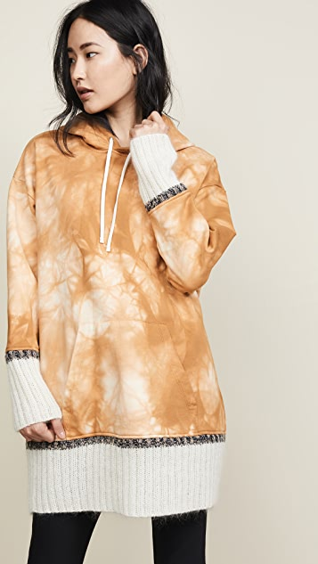 3.1 Phillip Lim Tie Dye Hoodie With Mohair Ribs