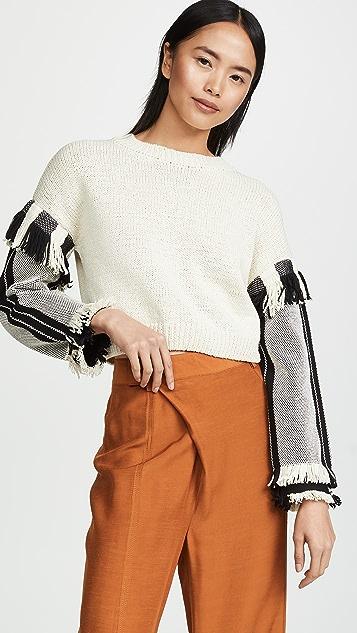 3.1 Phillip Lim Long Sleeve Fringe Pullover