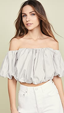 Striped Off Shoulder Cotton Top