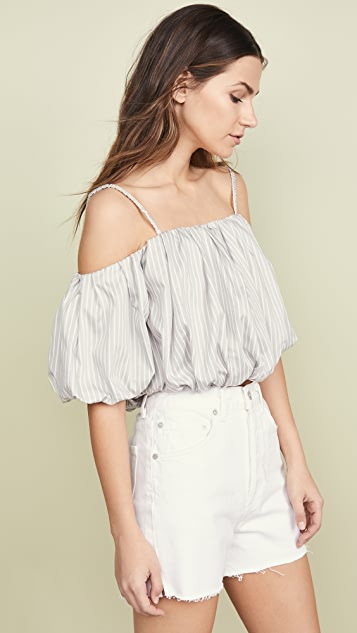 3.1 Phillip Lim Striped Off Shoulder Cotton Top