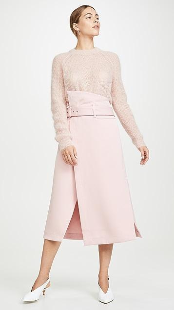 3.1 Phillip Lim Структурированная миди-юбка с запахом сбоку из твила