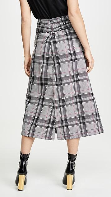 3.1 Phillip Lim Plaid Belted Topstitch Skirt