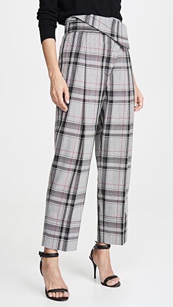 3.1 Phillip Lim Plaid Belted Overlap Trousers