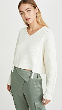 Cropped Ribbon Weave Sweater