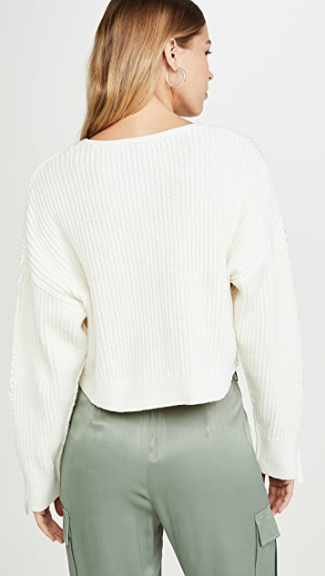 3.1 Phillip Lim Укороченный свитер из ткани с лентами