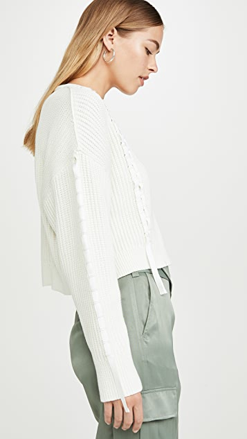 3.1 Phillip Lim 短款缎带梭织毛衣