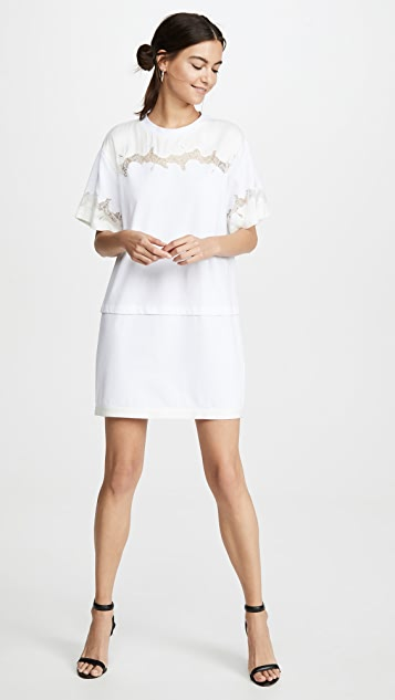 3.1 Phillip Lim Платье-футболка из кружева и атласа