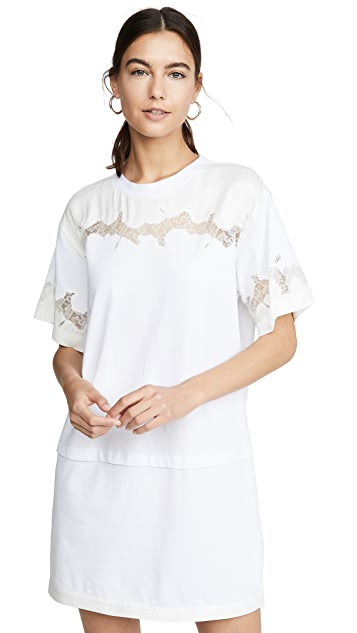 3.1 Phillip Lim 缎面和蕾丝 T 恤式连衣裙