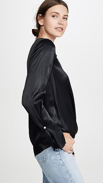 3.1 Phillip Lim Атласная блуза с драпировкой и жемчугом