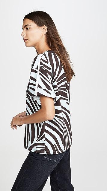 3.1 Phillip Lim Short Sleeve Printed Zebra T-Shirt
