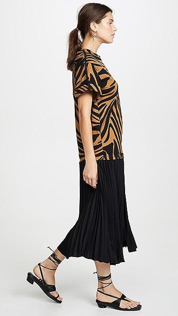 3.1 Phillip Lim Платье-футболка с короткими рукавами и складками