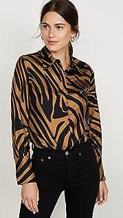 3.1 Phillip Lim Long Sleeve Zebra Print Blouse