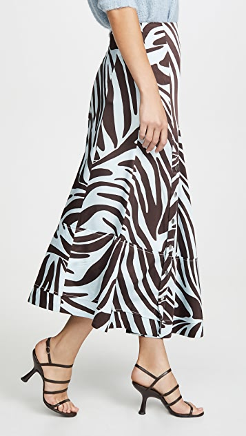 3.1 Phillip Lim Zebra Pleated Skirt with Snaps