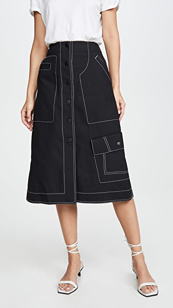 3.1 Phillip Lim High Waisted Midi Skirt
