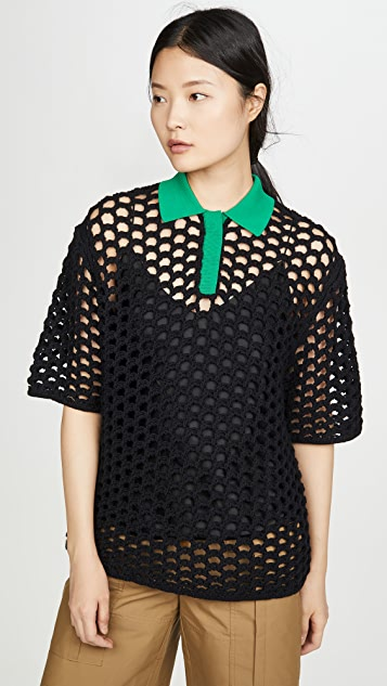 3.1 Phillip Lim 短袖粗针织马球衫
