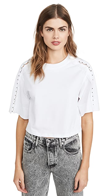 3.1 Phillip Lim Crop T-Shirt with Embellished Sleeves