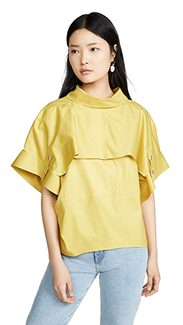 3.1 Phillip Lim Dolman Sleeve Top with Fold Over Collar