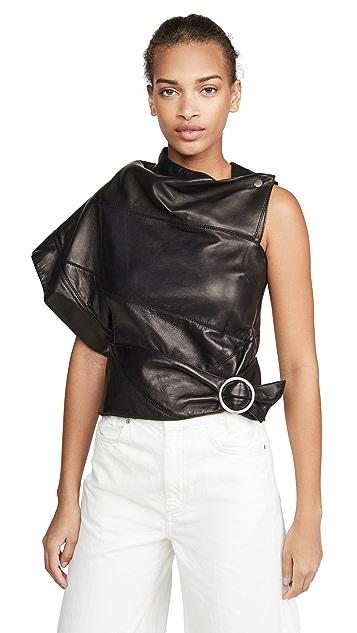 3.1 Phillip Lim 皮不对称裥褶环圈上衣