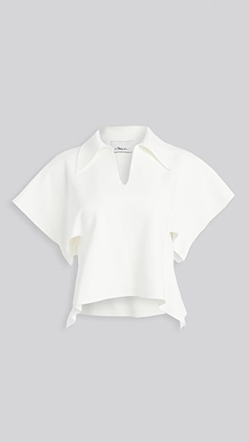 3.1 Phillip Lim Short Sleeve Polo Sweater with Side Cutout