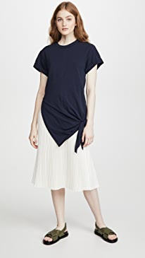 Short Sleeve Side Tie Dress with Pleating