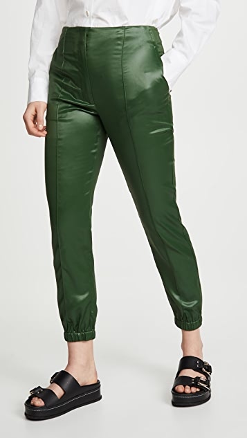 3.1 Phillip Lim Lacquered Tailoring Joggers with Ghost Waistband