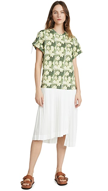 3.1 Phillip Lim Daisy Printed Pleated T Shirt Dress