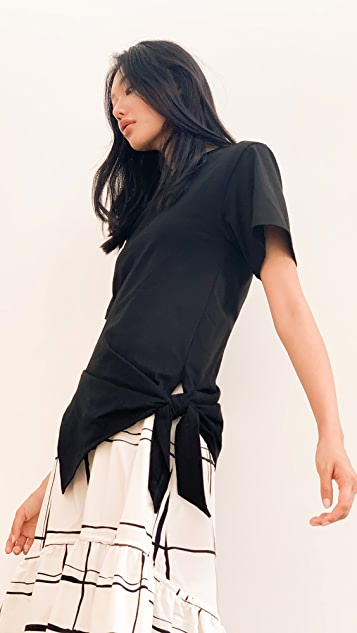 3.1 Phillip Lim Short Sleeve T-Shirt Combo Dress with Side Tie