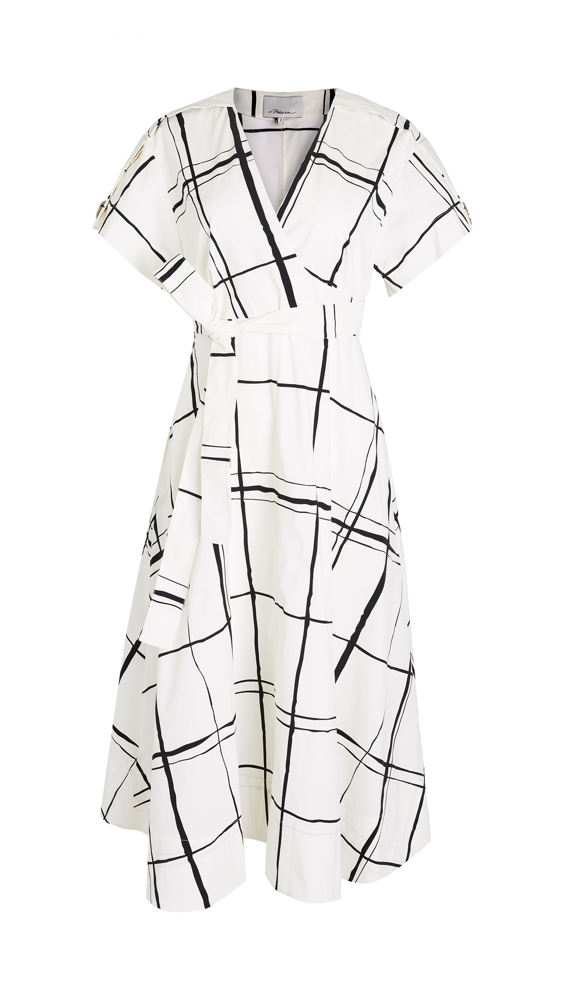 3.1 Phillip Lim Short Sleeve Painted Windowpane Dress